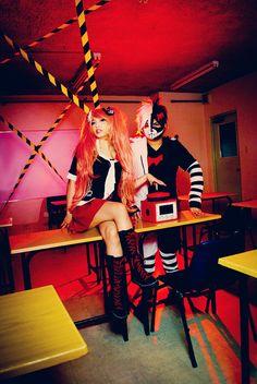 Pair of Despair from Dangan Ronpa Cosplayers: mikiikun as Junko Enoshima Marvin Tayong as Human Monokuma Photographed by japepong source: mikiikun via DeviantArt