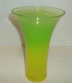 """Vaseline Unusual Vase Uranium And Clear Base 8 3/4"""" Tall Half And Half Color #Unbranded #VaselineUranium"""