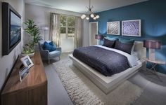 Is this bedroom with an accent wall of BLUE perfect for YOU? #newhome…