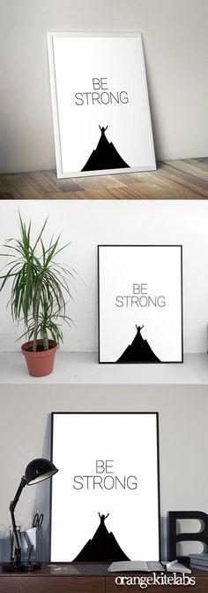 Printable poster be strong, # illustration Printable Art, Printables, Kids Room Art, Minimalist Poster, Floating Nightstand, Nursery Decor, Strong, Handmade Gifts, Illustration