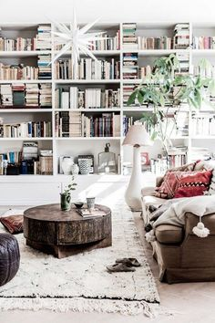 Swedish living space with a wall of books. a hanging pendant, and a large shag rug