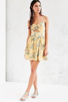 Kimchi Blue Cornflower Cut Out Gold Mini Dress - Urban Outfitters