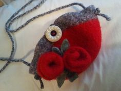 Red Roses Small Hand knit felted lined cell phone by welikesheep, $25.00