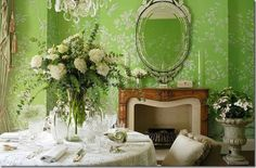 Mayfair dining room de Gournay Venetian mirror Alison Henry