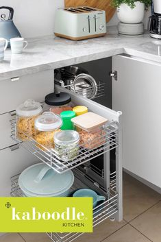 Can you get all this fancy with the kitchen too? Yeah, you can! Like these amazing two-tier blind corner pullout baskets, putting those hard-to-reach corners…in reach! Did someone say extra storage? New Kitchen, Kitchen Dining, Kitchen Ideas, Kitchen Cabinets, Organising Tips, Organisation Hacks, Anna White, Coffee Bars, Diy Kitchen Storage