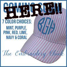Seersucker Monogrammed Hats-wallet, clutch, seersucker, monogram, personalized, prep, sorority, hat, ballcap