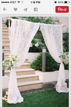 Vinatge lace wedding backdrop with lace curtains simple birch lace wedding arbor vintage wedding decor Rustic Wedding Backdrops, Wedding Arch Rustic, Wedding Ceremony Backdrop, Wedding Table, Wedding Ideas, Rustic Backdrop, Ceremony Arch, Wedding Reception, Wedding Themes