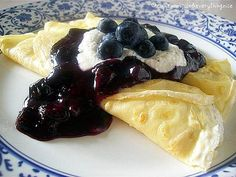 Crepes with Blueberry Sauce and Ricotta Cheese