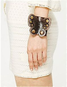 Bohemian Leather Butterfly Cuff, Leather Cuff, Fashion Jewelry, Handmade Leather Bracelet, Free Spirited Butterfly in BLACK (CU1175BLK) on Etsy, $68.00