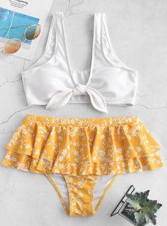 2020 Fashion Women Bikinis For Big Busts High Waisted Swim Skirt – firstes Trendy Swimwear, Cute Swimsuits, Swimwear Fashion, Women Swimsuits, Bikini Fashion, Bandeau Bikini, Bikini Set, Bikini Swimsuit, High Waisted Swim Skirt
