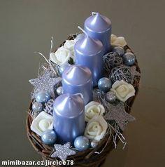Adventní svícen modrokrémovostříbrný