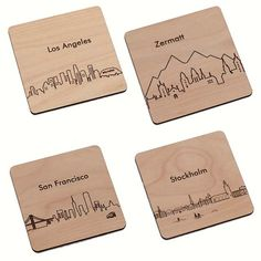Your Choice 4 City Coasters  Laser cut and by StylineDesigns