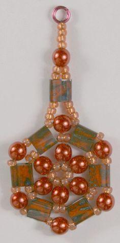 Deb Roberti's Medallion pattern done with new Miyuki Picasso Tilas.