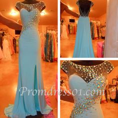 Handmade rhinestone round neck long prom dress #promdress