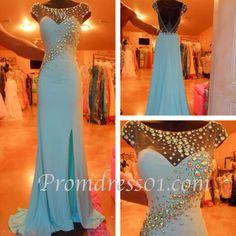 Handmade rhinestone round neck long prom dress #promdress
