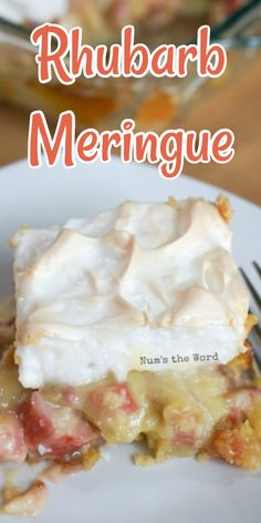 This Rhubarb Meringue is a classic Minnesotan dessert. THE BEST rhubarb recipe Ive ever tried! Cookie crust rhubarb custard and yummy Meringue create this summer treat that any Rhubarb (and non rhubarb) lover will die for! Best Rhubarb Recipes, Rhubarb Desserts, Custard Desserts, Best Dessert Recipes, Desert Recipes, Sweet Recipes, Easy No Bake Desserts, Homemade Desserts, Easy Desserts