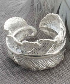 Look at this #zulilyfind! Sterling Silver Adjustable Feather Furl Ring by Martha Jackson #zulilyfinds
