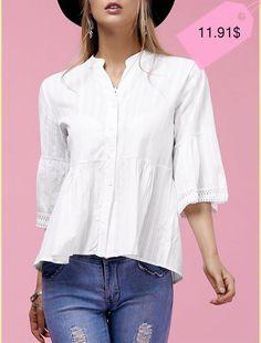 Sweet V-Neck Buttoned Flare Sleeve Blouse For Women