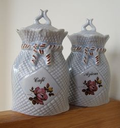 Vintage Ceramic Jars Cafe and Azucar Coffee and Sugar by lookonmytreasures on Etsy