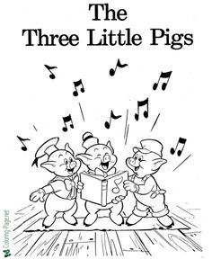 Printable Three Little Pigs coloring pages and more fairy tales coloring sheets and pictures for kids. Printable Flower Coloring Pages, Skull Coloring Pages, Fairy Coloring Pages, Cool Coloring Pages, Cartoon Coloring Pages, Disney Coloring Pages, Coloring Pages For Kids, Kids Coloring, Popular Cartoons