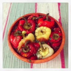 roasted bell peppers with olive oil and basil dressing