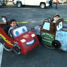 MAter and Lightning McQueen wheelchair costumes!  My kiddo and his bff