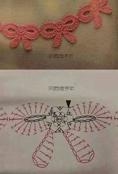 ideas for crochet edging patterns charts ganchillo Crochet Borders, Crochet Diagram, Crochet Chart, Crochet Motif, Crochet Stitches, Crochet Edgings, Crochet Appliques, Crochet Basics, Crochet Bows