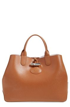New Longchamp Roseau Leather Shoulder Tote online - Likeprodress Longchamp, Reversible Tote Bag, Brown Leather Purses, Tote Handbags, Tote Bags, Beautiful Bags, Wallets For Women, Fashion Bags, Fashion Women