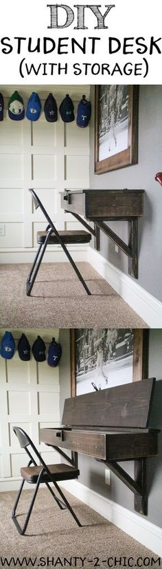 DIY Floating Desk with Storage. Free plans at www.shanty-2-chic.com
