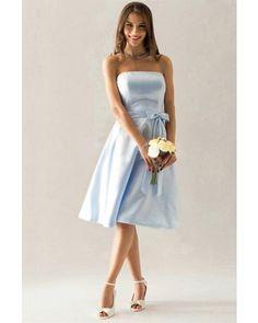 Light Sky Blue Strapless Satin Short Bridesmaid / Wedding Party Dress | LynnBridal.com