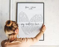 Song Lyrics Wall Art 1 year anniversary gift for boyfriend | Etsy