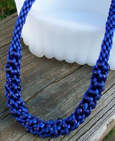 I NEED THIS!! (For homecoming)   Royal Blue Beaded Kumihimo Necklace by allstrungout1 on Etsy, $29.00