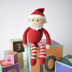 Jingles is a little scout elf for Santa.THE PATTERN INCLUDES:  Row numbers for each step so you don't lose your place, instructions for making the elf, photos, a list of abbreviations and explanation of some techniques, a materials list and recommended yarns. TECHNIQUES:  All pieces are knitted flat (back and forth) on a pair of straight knitting needles.  You will need to cast on and off, knit, purl, work increases and decreases, knit stripes (change colour at the end of a row) and sew…