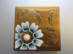 Vintage Dorset Fifth Avenue Compact Etched Goldtone Brass Blue Flower Pearls
