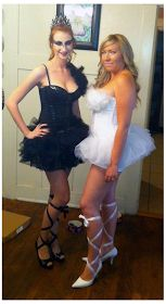 DIY Halloween Costume - White and Black Swan. Perfect for two friends!