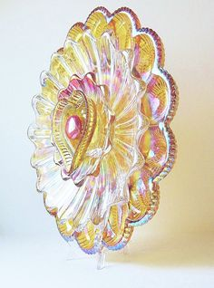 Recycled Glass Plate Flower Garden Art Golden Egg Plate 'DEAR HEART' ..................................... by jarmfarm | Etsy