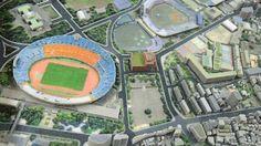 空撮映像ではありません。地図のデータと3Dプリンタにより作られた旧国立競技場付近の模型です。