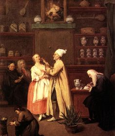 Lady and medician Artist: Pietro Longhi  Style: Rococo  Genre: genre painting  Technique: oil  Material: canvas  Dimensions: 60 x 49 cm  Gallery: Gallerie dell'Accademia, Venice, Italy  Tags: arts-and-crafts, disease-and-treatment, hospitals-and-pharmacies