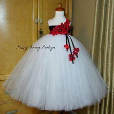 White Black and Red Tutu Dress: Flower Girl Birthday