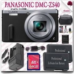 Panasonic Lumix DMC-ZS40 Digital Camera (Silver) + 64GB SDHC Class 10 Card + SLR Gadget Bag 11pc Panasonic Saver Bundle - http://www.rekomande.com/panasonic-lumix-dmc-zs40-digital-camera-silver-64gb-sdhc-class-10-card-slr-gadget-bag-11pc-panasonic-saver-bundle/