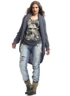 Broek Mat bleach denim met bretels :: broeken :: Grote maten - mode online | Gratis verzendig | Bagoes fashion