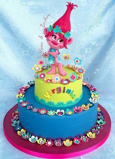 Trolls cake Trolls Birthday Party, Birthday Cake Girls, Birthday Outfits, 5th Birthday, Bolo Trolls, Trolls Cakes, Fondant Cakes, Cupcake Cakes, Poppy Cake