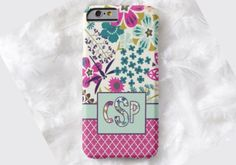 Floral Monogram Cell Phone Case, iPhone 6 case, Note 4 cell case, iPhone 6 plus cell case, iPhone 6 plus case, Galaxy Samsung S6 #516 by DesignsbyLiv15 on Etsy