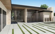 Fire Pit, Infinity Pool, Driveway Walkway, Patio & Deck, & Concrete Patio Decks - Modern Exterior By Bowery Design Group Permeable Driveway, Stone Driveway, Driveway Landscaping, Modern Landscaping, Driveway Ideas, Grass Driveway Pavers, Landscaping Contractors, Paver Walkway, Brick Pavers