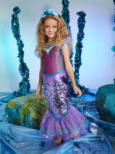 Sequin Mermaid Costume for Girls - Chasing Fireflies Girls Mermaid Costume, Womens Pjs, Chasing Fireflies, Cute Headbands, Shades Of Purple, Girl Costumes, Halloween Costumes For Kids, Girl Outfits, Sequins