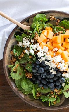 """summery spinach salad w/ blueberries, feta, cantaloupe and granola """"croutons"""" 