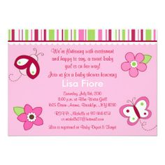 Shop Raspberry Garden Butterfly Baby Shower Invitations created by little_prints. Butterfly Baby Shower, Butterfly Birthday, Flower Birthday, Baby Shower Invitations, Custom Invitations, Birthday Invitations, Baby Shower Supplies, Baby Shower Themes, Garden Baby Showers