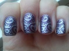 Again, stamping over OPI Suede nail polish. So pretty!