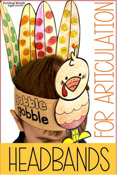 Turkey Headbands for Articulation & Phonological Processes Articulation Therapy, Articulation Activities, Speech Therapy Activities, Language Activities, Speech Language Pathology, Speech And Language, Phonological Processes, Thanksgiving Preschool, Special Education Teacher