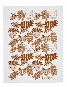 Keittiöpyyhe, Kettu - Kierti - Textiles, Drawings, Illustration, Empty Wall, Pattern, Fabric, Crafts, Foxes, Inspiration